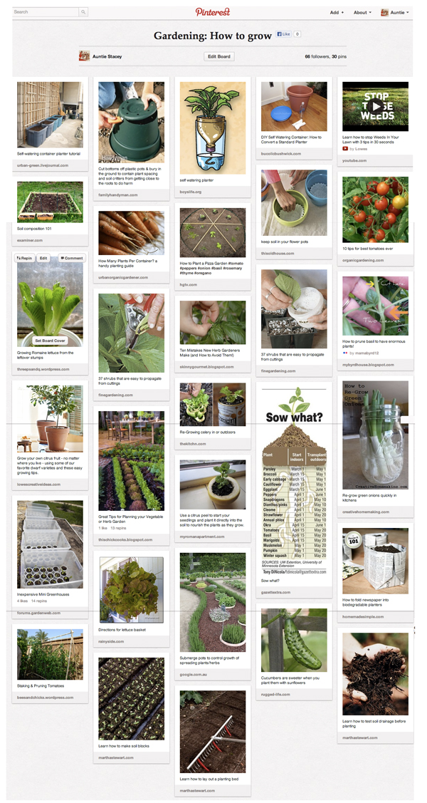 One of my gardening Pinterest boards