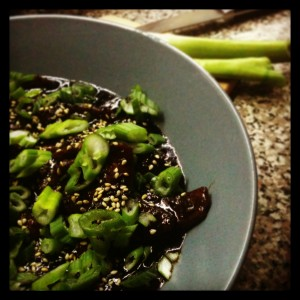 [ Mongolian Beef I made a few weeks back that was too salty for human consumption, but was lovely otherwise. Will have to make this again revising the salt and soy sauce. ]