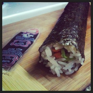 [ Typical maki roll hand rolling produced by moi. ]